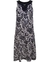 Ann Harvey Floral Print Linen Maxi Dress black - Lyst