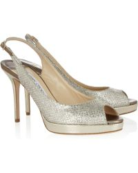 Jimmy Choo Nova Glittered Leather Slingbacks - Lyst