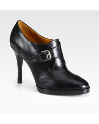 Ralph Lauren Collection Nanine Leather Buckle Ankle Boots - Lyst