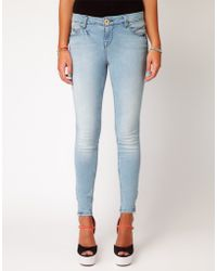 River Island River Island Bleached Skinny Jean with Zips - Lyst
