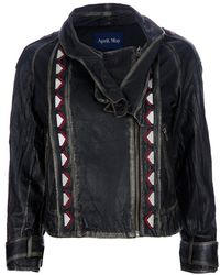 April, May - Ethnic Inserts Leather Jacket - Lyst
