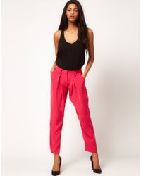 ASOS Collection Asos Peg Trousers with Fluid Front Detail pink - Lyst