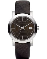 Burberry Swiss Smoked Check Brown Fabric Strap 38mm - Lyst