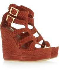 Jimmy Choo Pine Woven Suede Wedge Sandals brown - Lyst