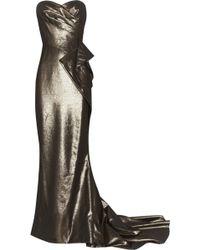 Marchesa Draped Lamé Gown - Lyst