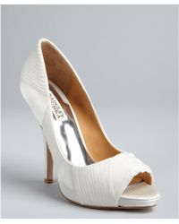 Badgley Mischka While Satin Wayde Peep Toe Pumps - Lyst