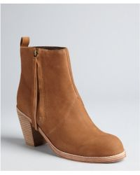 Dolce Vita Camel Leather Jax Tassel Zip Ankle Boots - Lyst