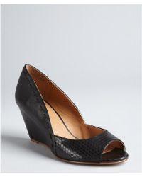 Kelsi Dagger Black Snake Embossed Leather Genelle Peep Toe Wedges - Lyst
