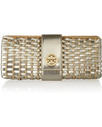 Tory Burch Rattan and Faux Leather Clutch - Lyst