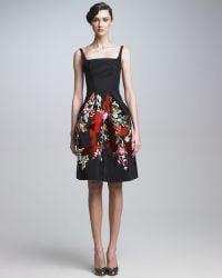 Zac Posen Embroidered Cocktail Dress black - Lyst