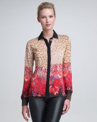 Peter Som - Leopard Flowerprint Blouse - Lyst