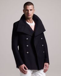 Balmain Danton collar Cotton Pea Coat - Lyst