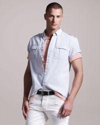Balmain Shortsleeve Military Shirt - Lyst