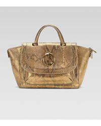 Gucci Medium Top Handle Bag Orochampagne Python - Lyst