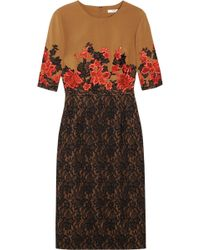 Erdem Ivy Embroidered Stretchcrepe and Lace Dress brown - Lyst