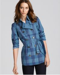 Burberry Brit Metallic Check Printed Packaway Trench - Lyst