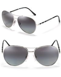Burberry Rimmed Aviator Sunglasses with Check Temple - Lyst