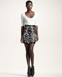 Balmain Lasercut Mini Skirt - Lyst