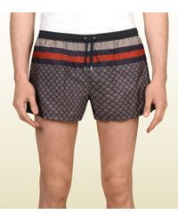 Gucci Web Detail Diamante Swim Shorts - Lyst