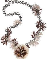 Lanvin Raffia Mask Flower Necklace silver - Lyst