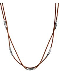 Me&Ro - Silver Long Natural Leather Pendant with Square Beads - Lyst