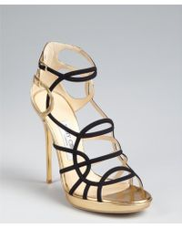 Jimmy Choo Black and Gold Leather Bunting Caged Sandals - Lyst