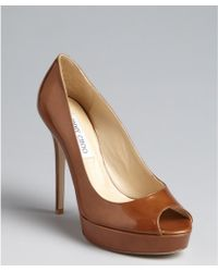 Jimmy Choo Tan Patent Leather Crown Peep Toe Platform Pumps - Lyst