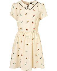 Topshop Pansy Print Collar Dress beige - Lyst