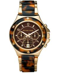 Michael Kors Womens Chronograph Gold Tone Stainless Steel and Tortoise Acetate Bracelet 42mm - Lyst