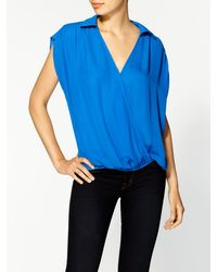 Parker Silk Shoulder Yoke Top - Lyst