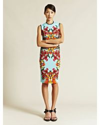 Givenchy Floral Print Midi Dress blue - Lyst