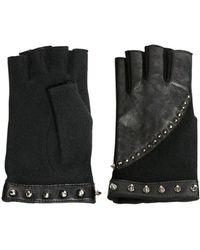 American Retro Studded Fingerless Gloves black - Lyst