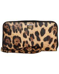 Dolce & Gabbana Leopard Print Pvc Zip Around Wallet - Lyst