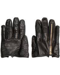 DSquared² Leather Zipped Half Gloves black - Lyst