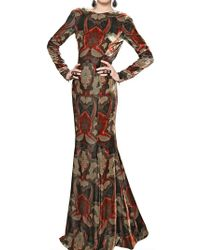 Etro Printed Viscose Silk Velvet Long Dress - Lyst