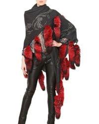 Philipp Plein Woven Wool Cashmere Fox Fur Shawl gray - Lyst
