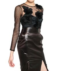 Viktor & Rolf Rabbit Fur Flower On Techno Tulle Top - Lyst