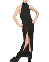 Balmain Halter Neck Viscose Jersey Long Dress black - Lyst