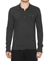 Dolce & Gabbana Pique Cotton Long Sleeved Polo Shirt - Lyst
