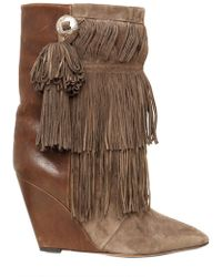 Isabel Marant 90mm Jacob Fringed Suede Wedge Boots - Lyst