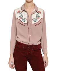 Isabel Marant Embroidered Viscose Crepe Shirt - Lyst