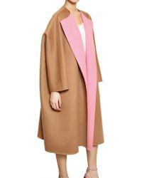 Jil Sander Two Tone Soft Wool Cocoon Coat - Lyst