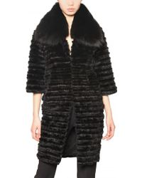Jo No Fui - Rabbit and Mink with Fox Collar Fur Coat - Lyst