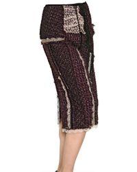 Nina Ricci Silk Lace On Wool Tweed Skirt - Lyst