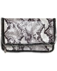 Stella McCartney Fold Over Faux Python Clutch - Lyst