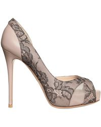 Valentino 120mm Nappa Lace Crystals Open Toe Pumps - Lyst