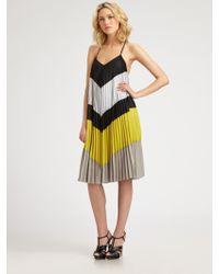 BCBGMAXAZRIA Juna Pleated Colorblock Dress - Lyst