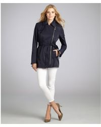 Vince Camuto Navy Cotton Blend Belted Asymmetric Zip Trench Coat - Lyst