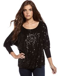 Fifteen-twenty Sequin Batwing Top - Lyst