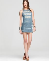 Free People Tribal Embroidered Shift  Dress  - Lyst